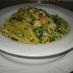 Trenette gamberetti e spinaci